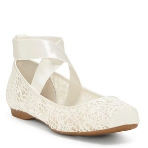 Jessica Simpson White Lace Maggda Ballet Flat